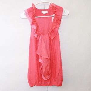 Alythea Anthropologie Medium Pink Ruffle Tank Top